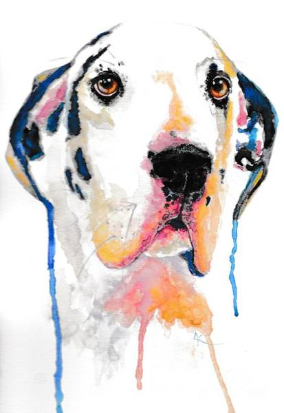 Black Great Dane Painting - Harlequin Great Dane Merlin by A Cousineau