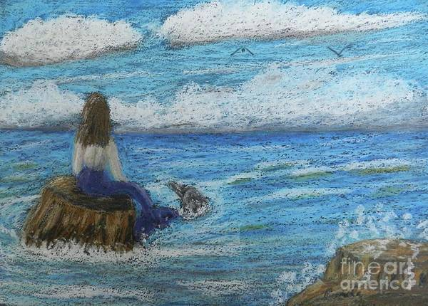 Wall Art - Painting - Mermaid And Dolphin by Pamela Meredith