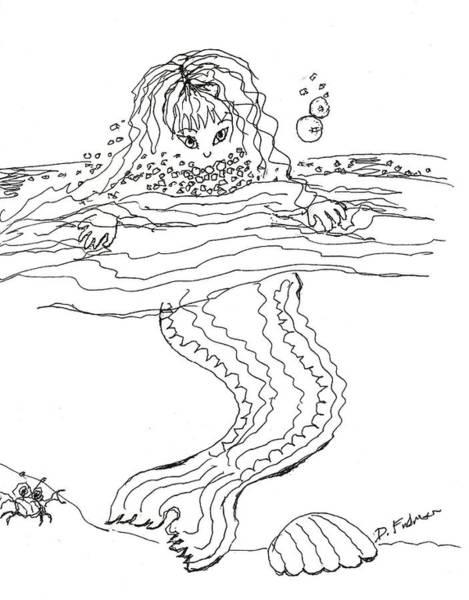 Mermaid Bubblebath Bw Art Print