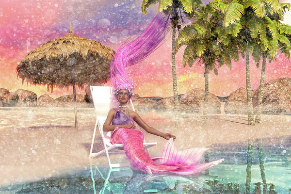 Tropics Digital Art - Mermaid By The Sea by Betsy Knapp