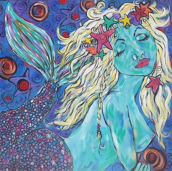 Wall Art - Painting - Mermaid Dream #2 by Arrin Burgand