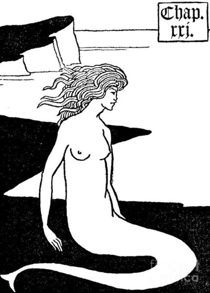 Wall Art - Drawing - Mermaid Illustration From Le Morte D'arthur By Thomas Malory by Aubrey Beardsley