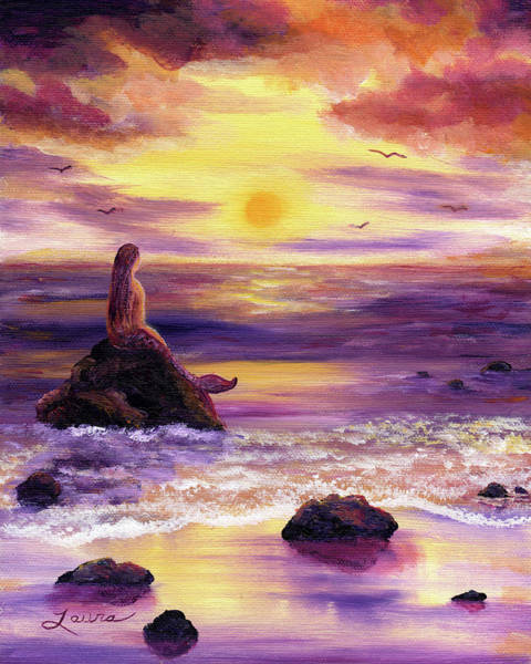 Wall Art - Painting - Mermaid In Purple Sunset by Laura Iverson
