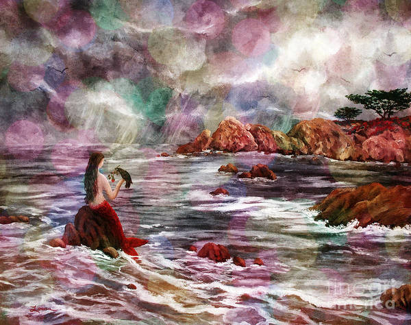 Stormy Digital Art - Mermaid In Rainbow Raindrops by Laura Iverson
