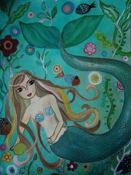 Painting - Mermaid-lady Of The Sea by Pristine Cartera Turkus