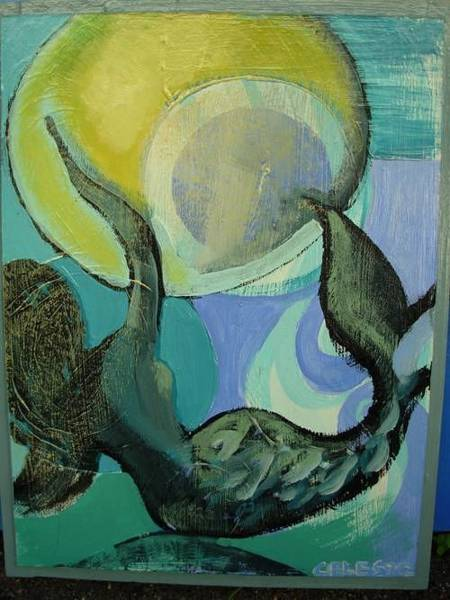 Developed Painting - Mermaid Playing With The Sun  by Celeste Fourie
