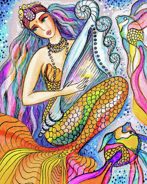 Wall Art - Painting - Mermaid Saraswati by Eva Campbell