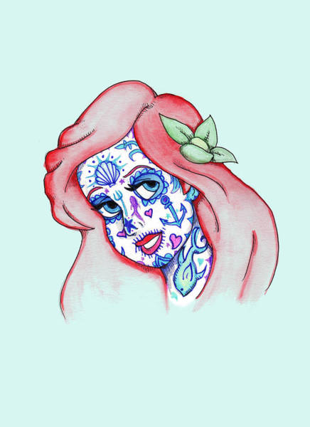 Little Mermaid Wall Art - Drawing - Mermaid Sugar Skull by Ludwig Van Bacon