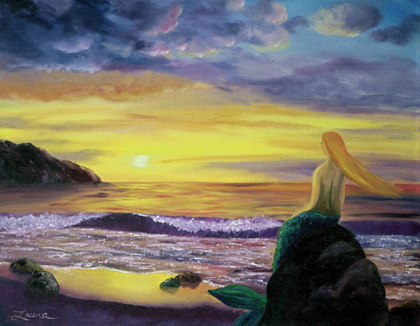 Wall Art - Painting - Mermaid Sunset by Laura Iverson