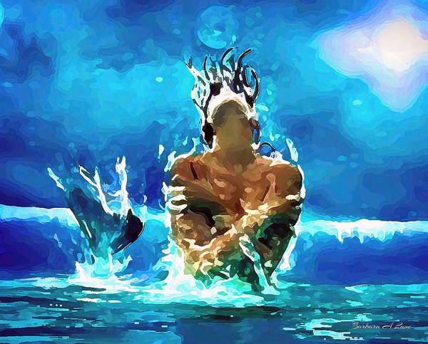 Digital Art - Mermaid Under The Moonlight by Barbara A Lane