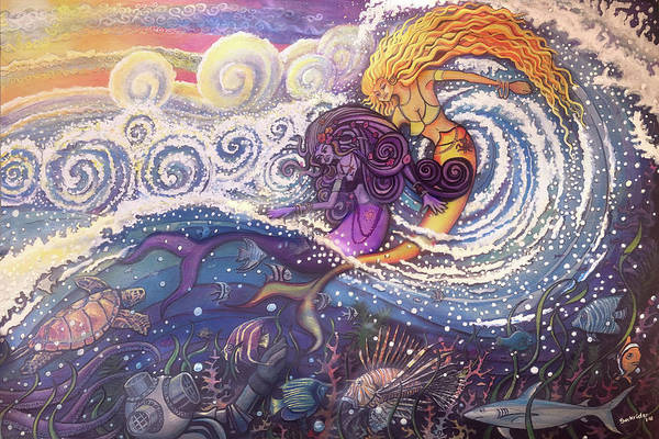 Painting - Mermaids In The Surf by David Sockrider