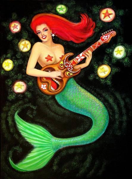 Pop Surrealism Wall Art - Painting - Mermaids Rock Tiki Guitar by Sue Halstenberg