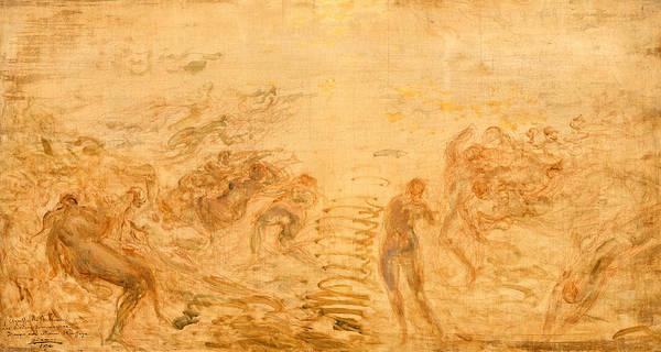 Wall Art - Painting - Mermaids Under Water by Felix Ziem