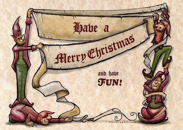 Digital Art - Merry Christmas Elves by Kevin Middleton