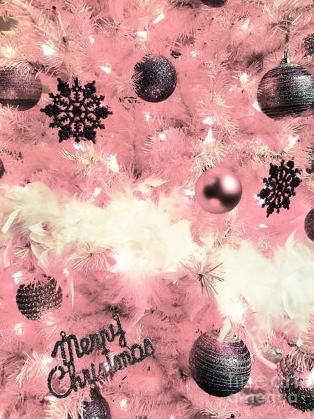 Merry Christmas In Pink Art Print