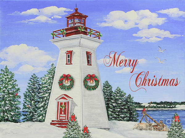 Wall Art - Painting - Merry Christmas Lighthouse-jp3901 by Jean Plout