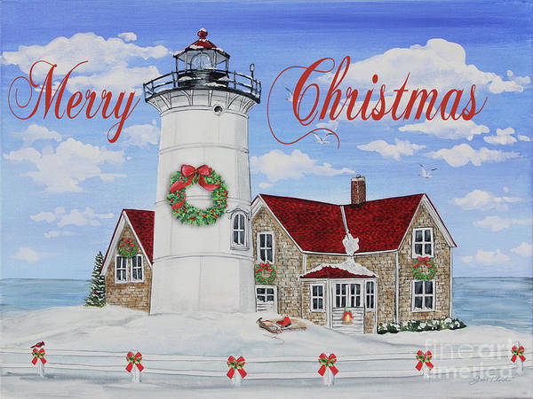 Wall Art - Painting - Merry Christmas Lighthouse-jp3904 by Jean Plout