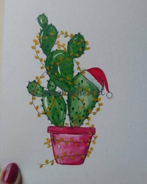 Green Painting - Cactus With Christmas Lights by Seema Hooda