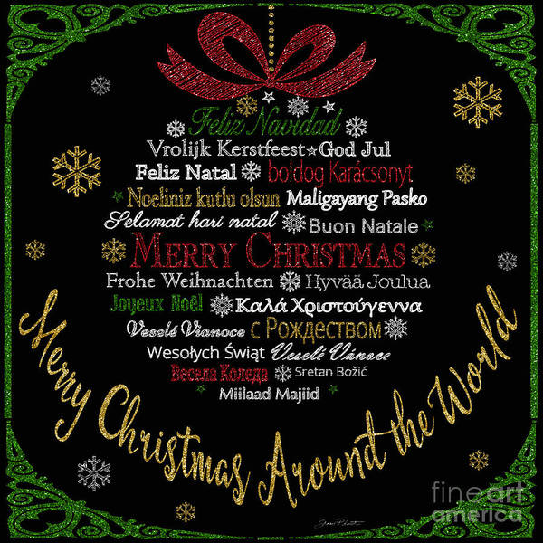 Wall Art - Painting - Merry Christmas Ornament-jp3627 by Jean Plout