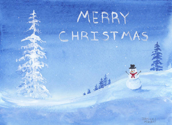 Painting - Merry Christmas Snowman by Darice Machel McGuire