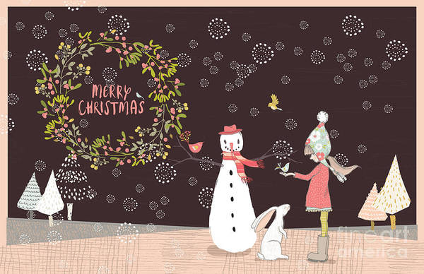 Photograph - Merry Christmas Snowman Girl And Rabbit by Pam  Holdsworth