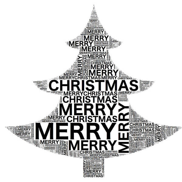 Digital Art - Merry Christmas Tree Words by Alice Gipson