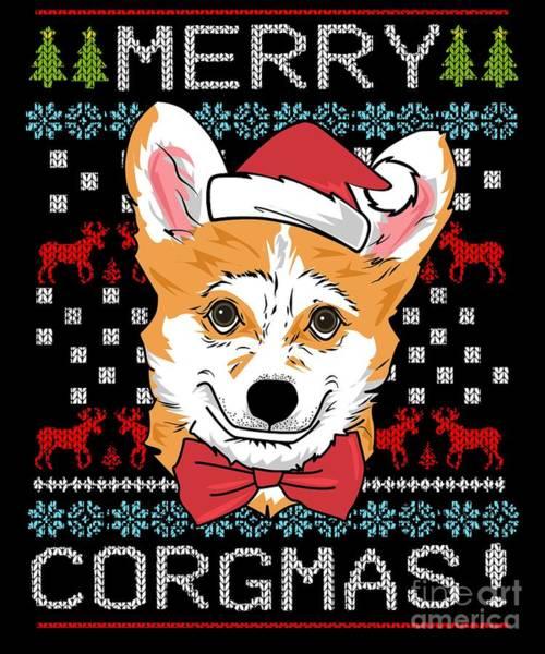 Ugly Digital Art - Merry Corgmas Corgi Christmas Ugly Sweater Tshirt by Tigar Lily