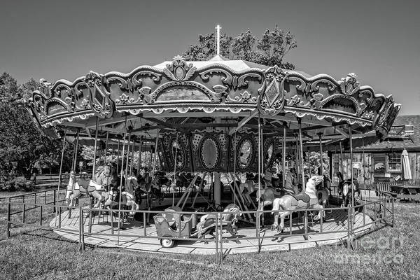 Merry Go Round Photograph - Merry Go Round Quechee Vermont Black And White by Edward Fielding