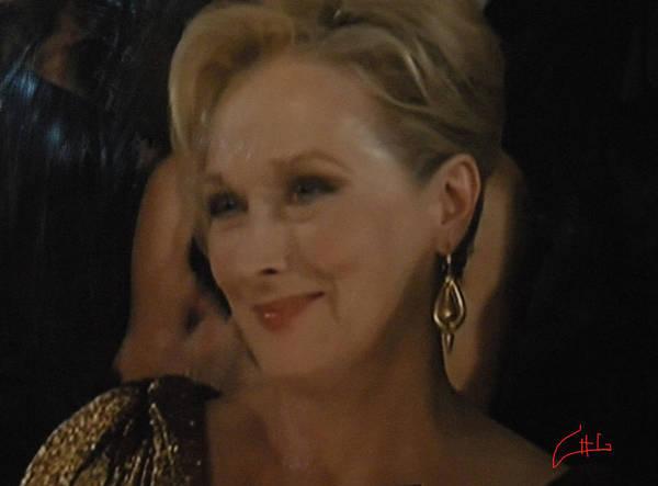 Photograph - Meryl Streep Receiving The Oscar As Margaret Thatcher  by Colette V Hera  Guggenheim