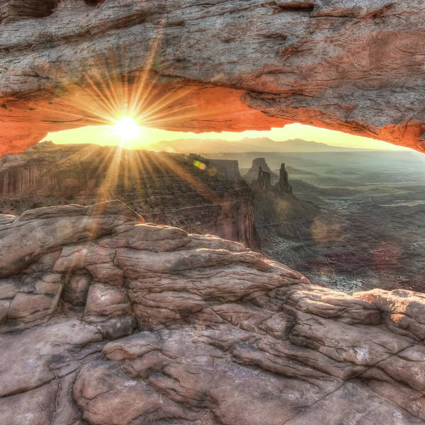 Photograph - Mesa Arch Canyon Canyonlands Sunrise - Square Format by Gregory Ballos