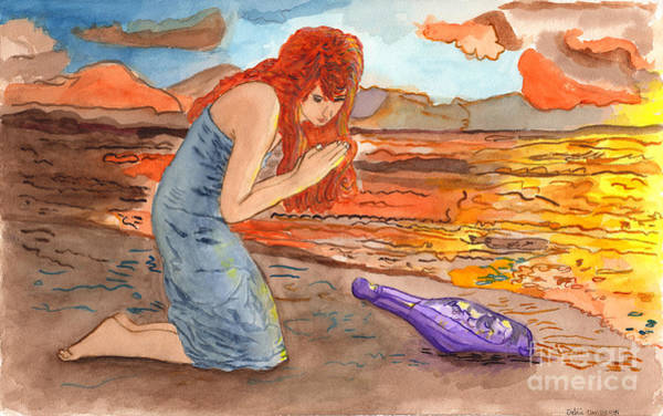 Priceless Painting - Message In A Bottle by Debbie Davidsohn
