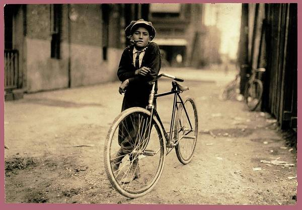 Photograph - Messenger Boy For Mackay Telegraph Co. Lewis Hine Photo Waco Texas 1913 Color Frame Added 2016 by David Lee Guss