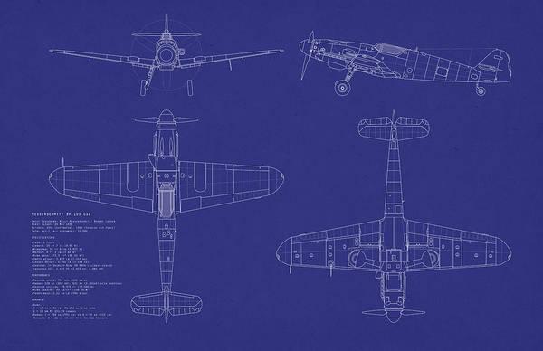 Blueprint Digital Art - Messerschmitt Me109 by Michael Tompsett