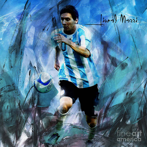 Super Cup Wall Art - Painting - Messi 98iu by Gull G