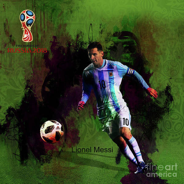 Super Cup Wall Art - Painting - Messi In World Cup 2018 Russia  by Gull G
