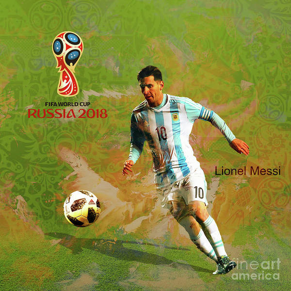 Super Cup Wall Art - Painting - Messi World Cup 2018  by Gull G