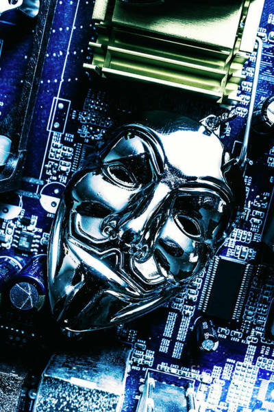 Sciences Photograph - Metal Anonymous Mask On Motherboard by Jorgo Photography - Wall Art Gallery