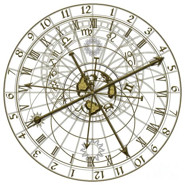Wall Art - Digital Art - Metal Astronomical Clock by Michal Boubin