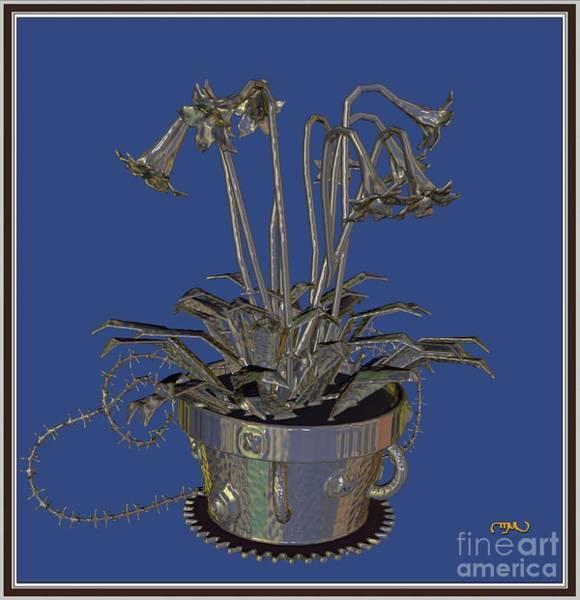 Wall Art - Digital Art - Metal Flowers 211mf1 by Pemaro
