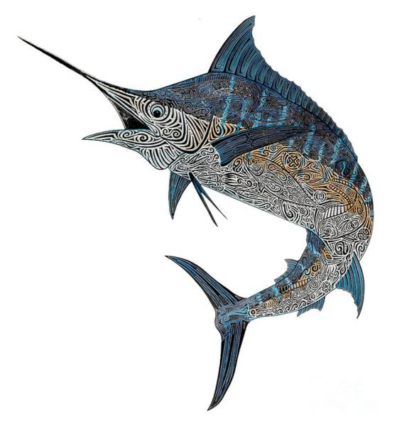 Wall Art - Painting - Metal Marlin Tribal by Carol Lynne