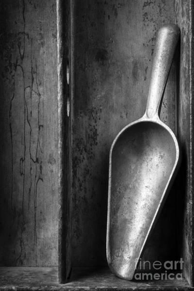 Wall Art - Photograph - Metal Scoop In Wooden Box Still Life by Edward Fielding