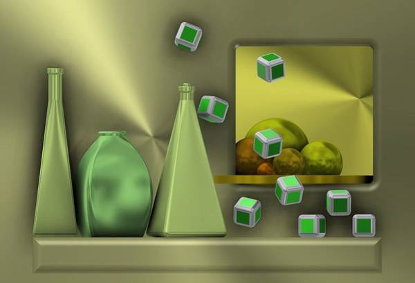 Metalic Still Life With Cubes Flying Art Print