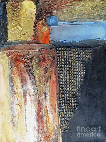 Mixed Media - Metallic Fall With Blue by Phyllis Howard