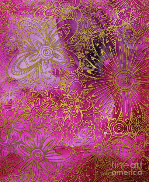 Wall Art - Painting - Metallic Gold And Pink Floral Pattern Design Golden Explosion By Megan Duncanson by Megan Duncanson
