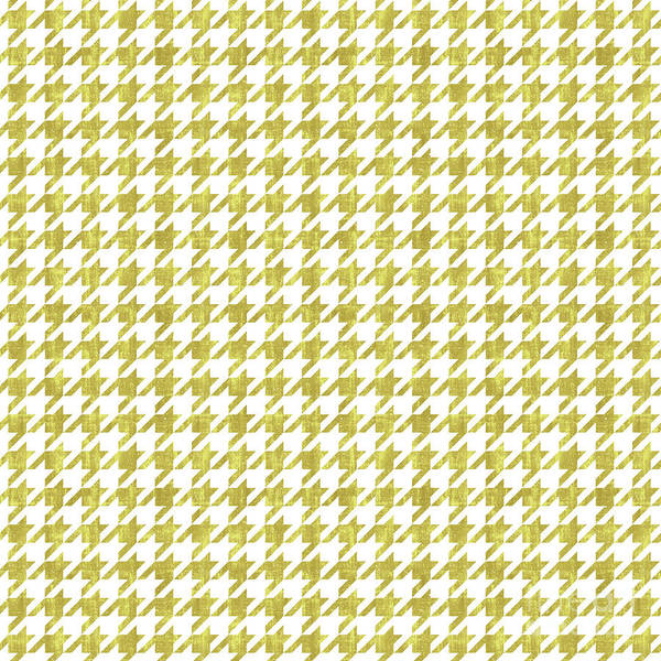 Traditional Home Digital Art - Metallic Gold And White Houndstooth Pattern by Tina Lavoie
