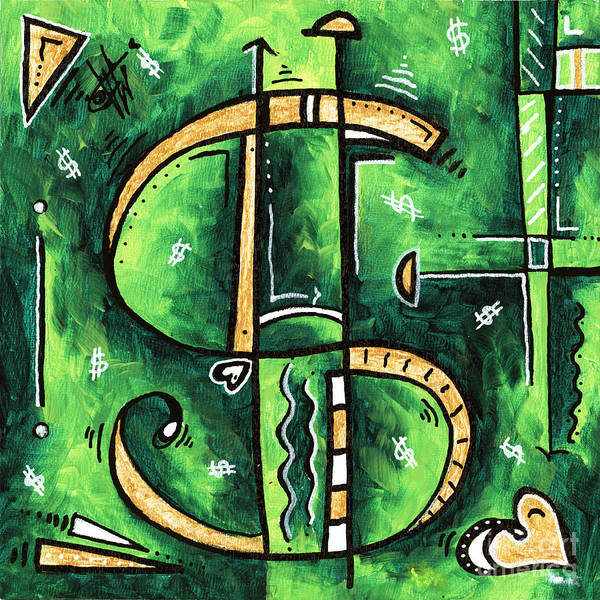 Wall Art - Painting - Metallic Gold Dollar Sign For The Love Of Money Mini Pop Art Painting Madart by Megan Duncanson