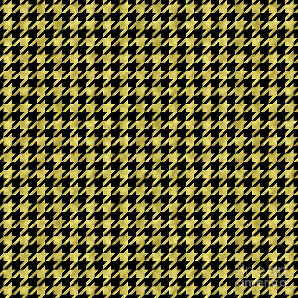 Traditional Home Digital Art - Metallic Gold And Black Houndstooth Pattern by Tina Lavoie