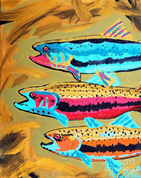 Spawn Painting - Metallic Neon Swimming Trout - Gold Abstract by Scott D Van Osdol