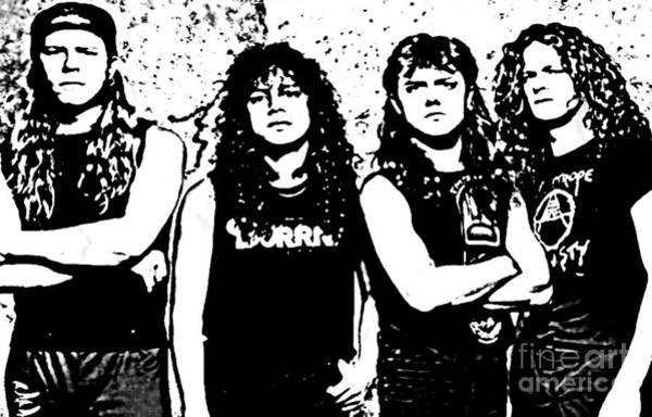 Megadeth Wall Art - Digital Art - Metallica Poster In Ink by John Malone