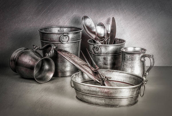 Tub Wall Art - Photograph - Metalware Still Life by Tom Mc Nemar